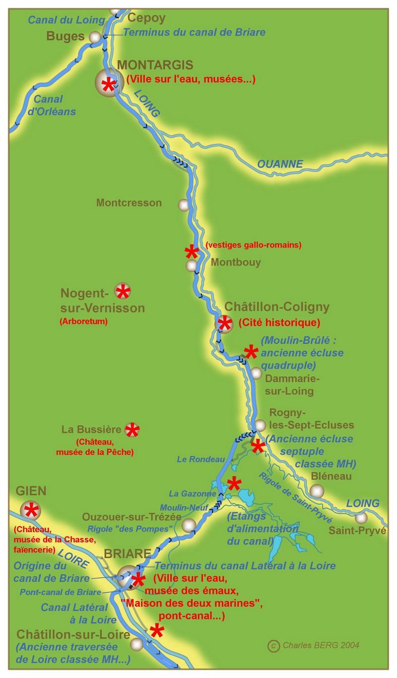 canal de briare carte Canal de Briare   Dictionnaire des canaux et rivières de France